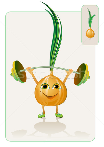 funny and realistic onion raising the bar Stock photo © denisgo