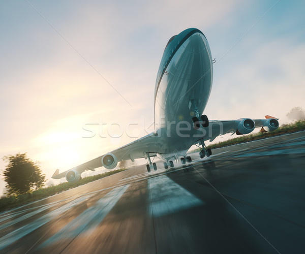 passenger plane take off from runways travel business background concept 3d illustration Stock photo © denisgo