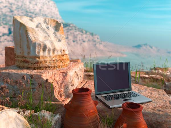 conceptual background with antique column and laptop Stock photo © denisgo