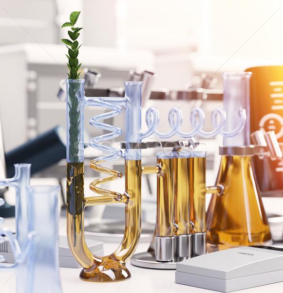 Yeşil bitki kimyasal laboratuvar bilim teknoloji Stok fotoğraf © denisgo
