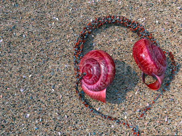headphones from seashells on the sand as vacation tourism relaxing concept background Stock photo © denisgo