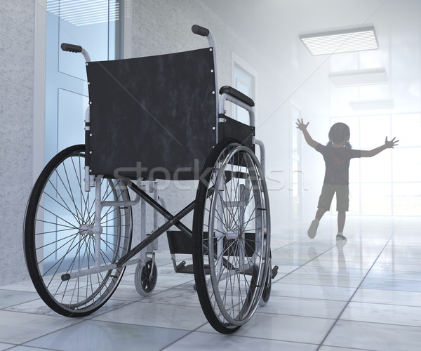 Empty wheelchair parked in hospital hallway  hope concept background Stock photo © denisgo