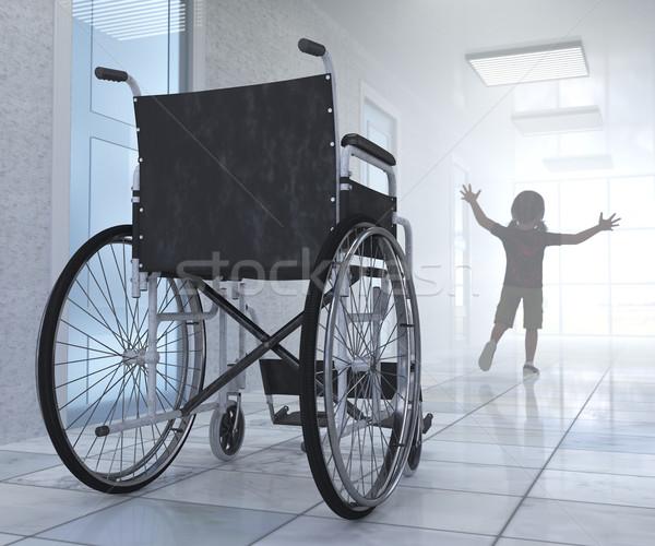 Vuota sedia a rotelle ospedale corridoio speranza bambino Foto d'archivio © denisgo