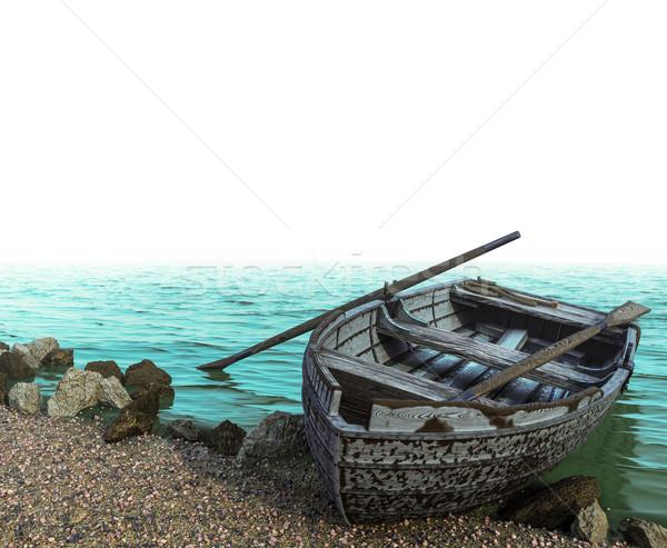Vieux bateau caillou plage blanche Photo stock © denisgo