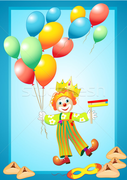 unny clown with balloons, mask, noise maker and purim cookies Stock photo © denisgo