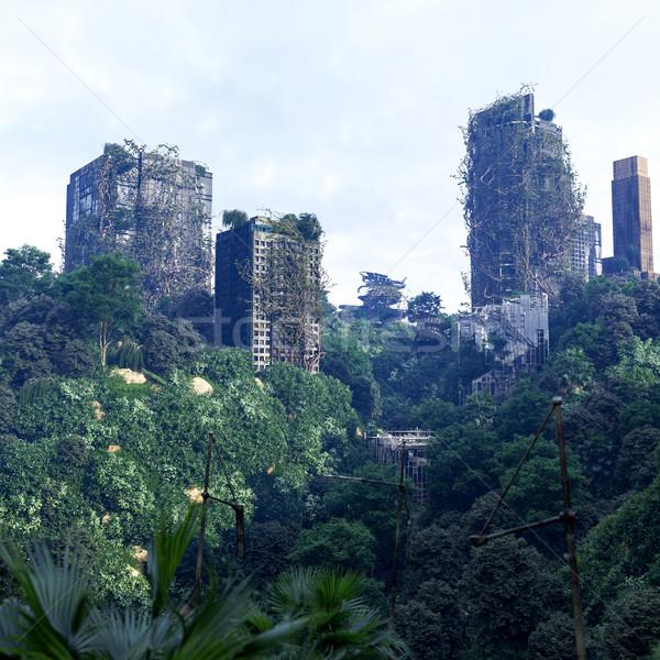 Apokaliptyczny futurystyczny opuszczony miasta budynku lasu Zdjęcia stock © denisgo