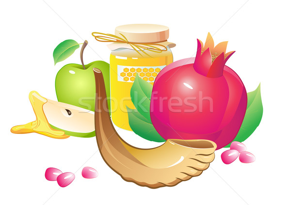 rosh hashana traditional holiday still life, apple, honey and shofar Stock photo © denisgo
