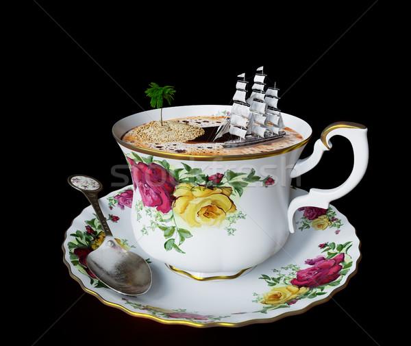 Natureza morta xícara de café brinquedo barco Foto stock © denisgo