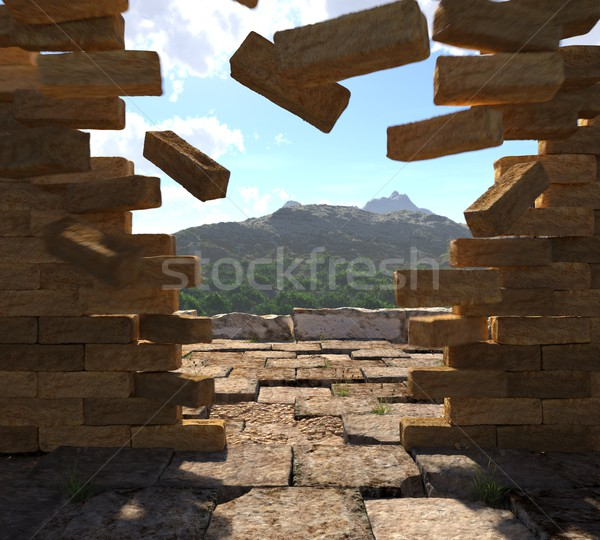 concept vintage image of crashed stone ancient stone wall with mountains view Stock photo © denisgo