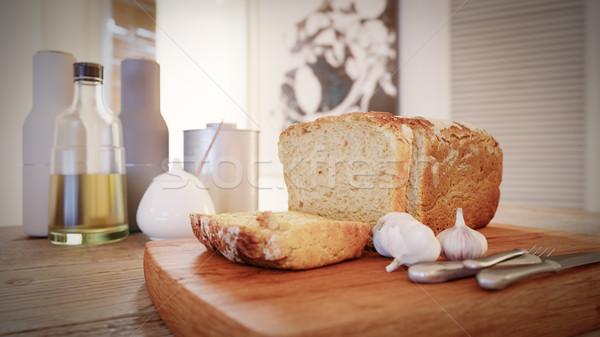 Сток-фото: свежие · хлеб · оливкового · масла · бутылку · деревенский · таблице
