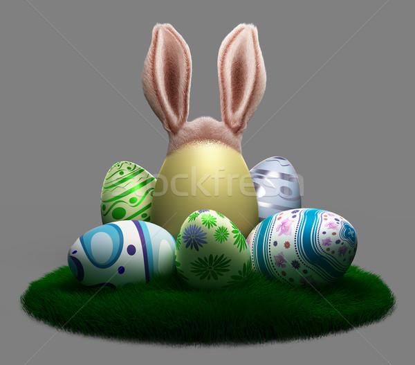Ingericht paaseieren gras Easter Bunny oren voorjaar Stockfoto © denisgo