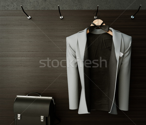Negocios chaqueta pared maletín foto Foto stock © denisgo