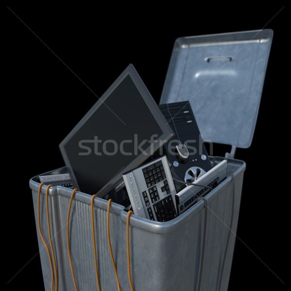 computers in a trash bin on a white background Stock photo © denisgo