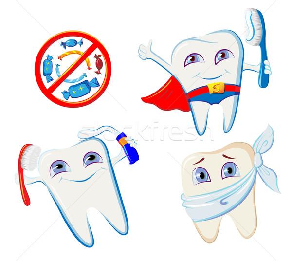 Colección sonriendo diente higiene sonrisa Foto stock © denisgo