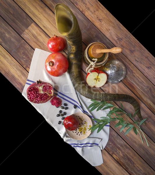 Miel jar pommes grenade religieux vacances Photo stock © denisgo