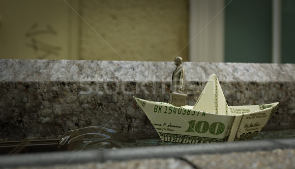 Tin soldaat business foto geld papier Stockfoto © denisgo