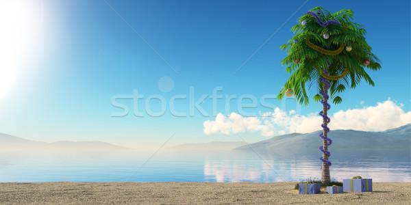 Yılbaşı hurma ağacı dekorasyon tatil plaj su Stok fotoğraf © denisgo