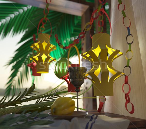 Szimbólumok ünnep pálmalevelek üveg bor 3d illusztráció Stock fotó © denisgo