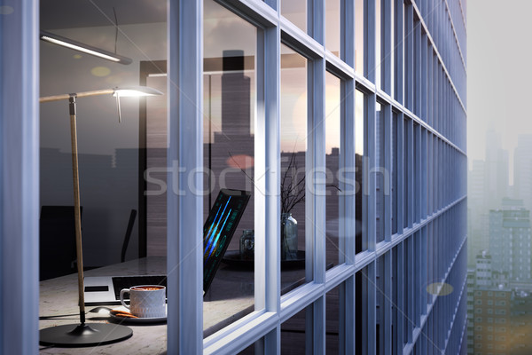 Portátil taza mesa oficina ventana vidrio Foto stock © denisgo