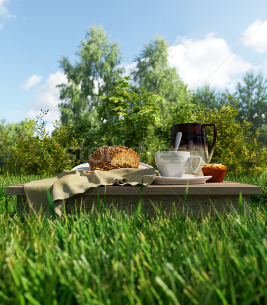 Stock photo: Coffee cup and bread picnic vacation relaxing concept stilllife