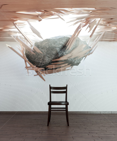 chair and falling stone conceptual 3d illustration Stock photo © denisgo