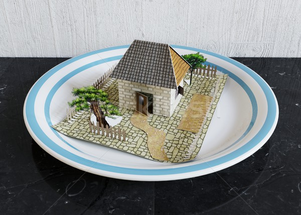 isolate house on the plate with blue border real estate business concept photoisolate house on the p Stock photo © denisgo