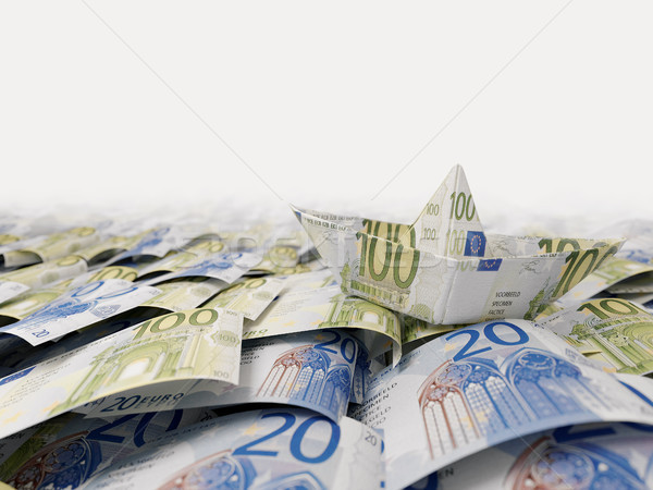 Ship from euro paper in the money sea concept composition photo Stock photo © denisgo