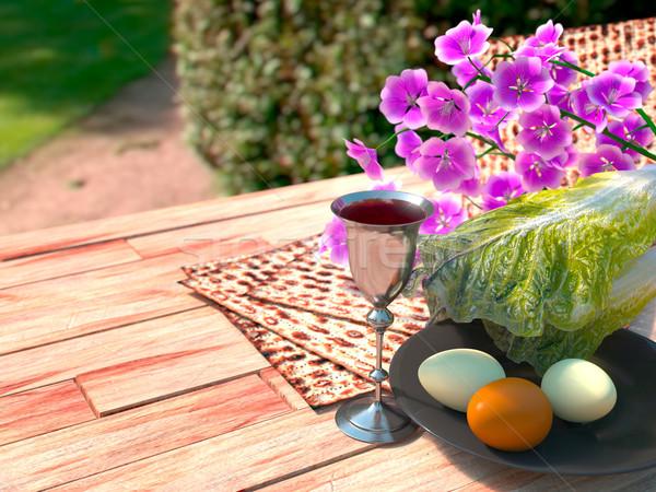 праздновать пасху яйца цветы природы весны Сток-фото © denisgo