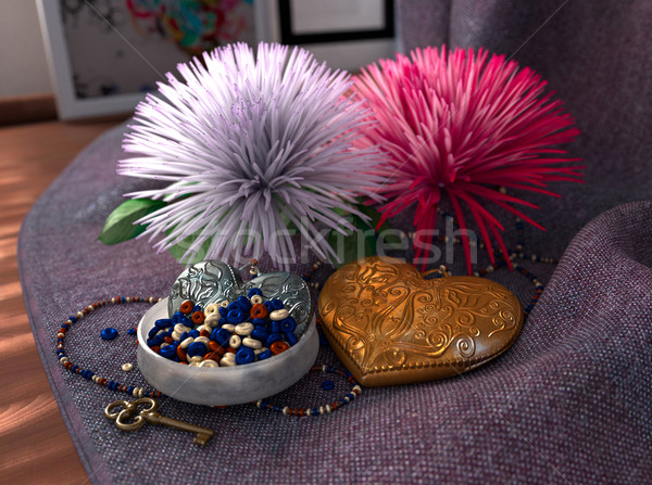 isolate holiday and wedding background with chrysanthemum  jewelry and fabric Stock photo © denisgo