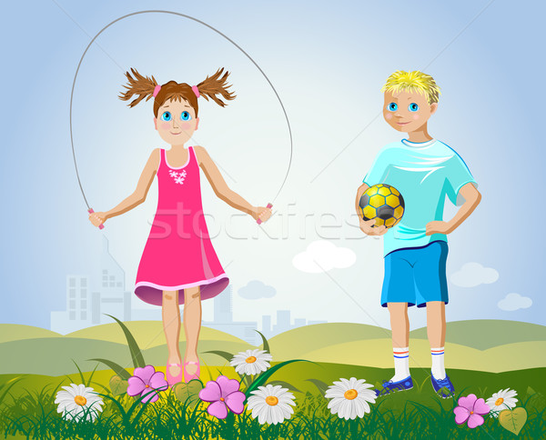 girl and boy with sport accessories Stock photo © denisgo