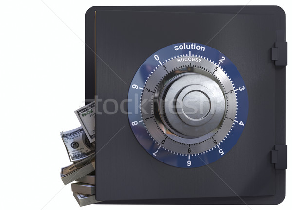 Close up of a safe lock and cash concept of solution and success in business Stock photo © denisgo