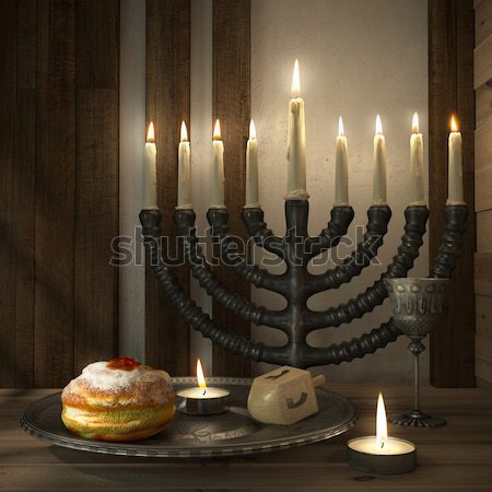 hanukkah background with candles, donuts, spinning top and old books Stock photo © denisgo