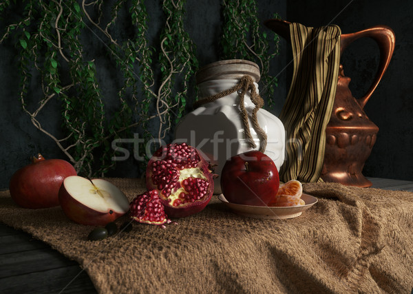 jar, rop, apples,pomegranate,plant and orange on canvas drapery conceptual still-life Stock photo © denisgo