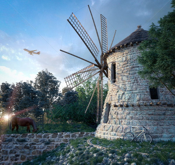 windmill on sunset background and plane travel technology concept composition Stock photo © denisgo