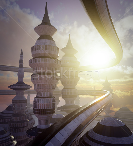 aerial view of Science Fiction City with clouds and sun Stock photo © denisgo