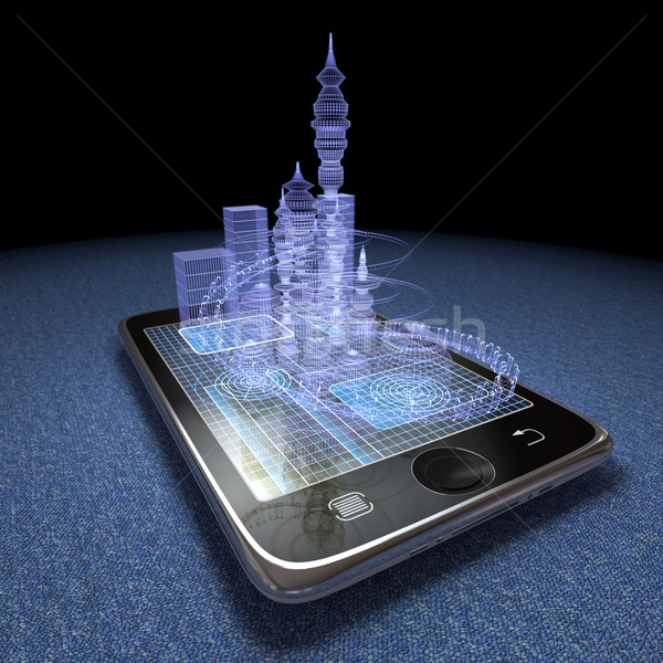 Digital tablet and futuristic town as progress concept background Stock photo © denisgo