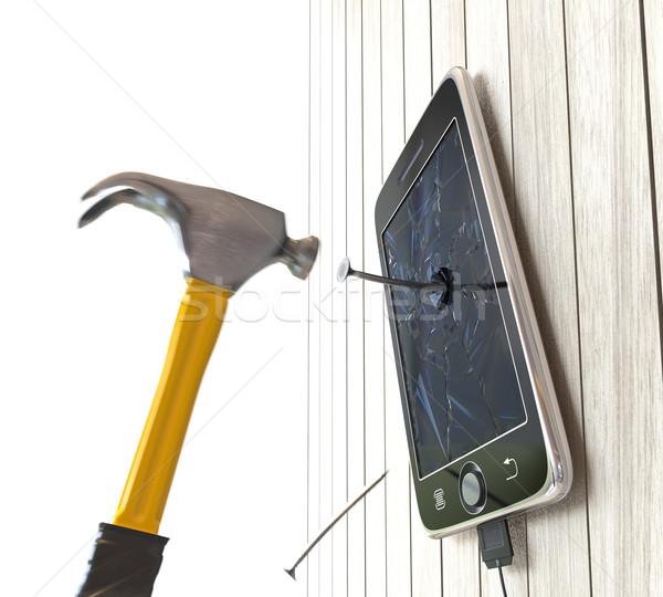Martillo digital tableta escritorio unas Foto stock © denisgo