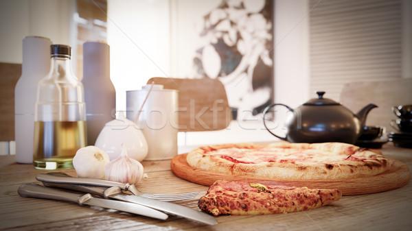 Forró pizza szelet olvad sajt rusztikus fa asztal Stock fotó © denisgo