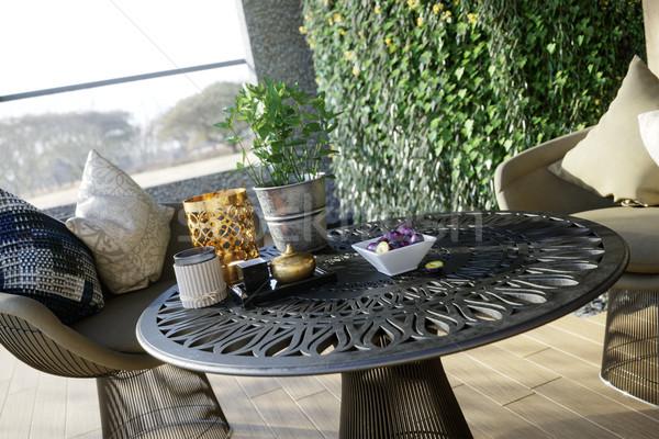 Açık tablo sandalye fotoğraf gıda Stok fotoğraf © denisgo