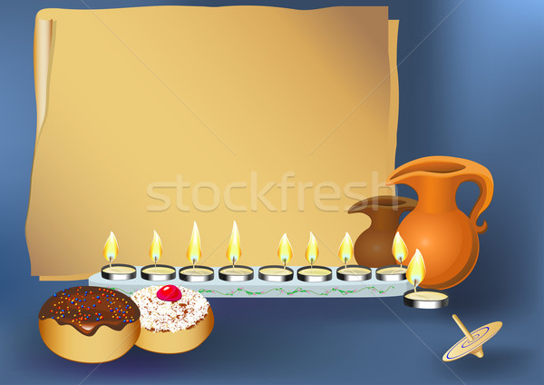 hanukkah background with candles, donuts, oil pitcher and spinning top Stock photo © denisgo