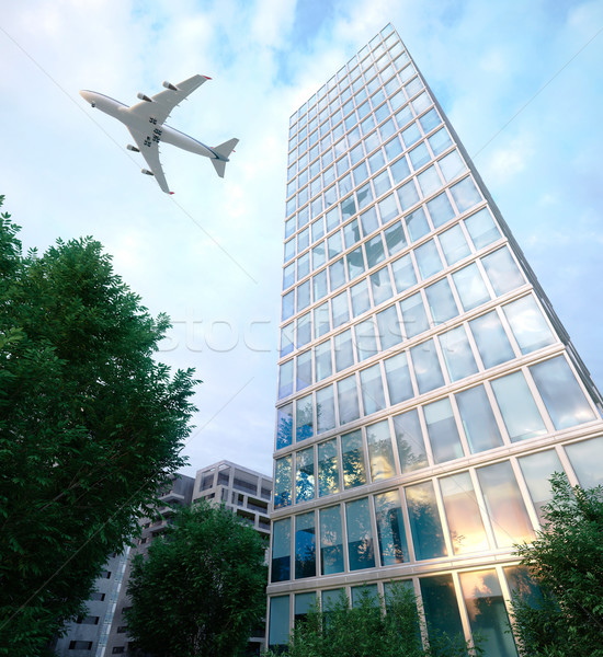 buildings with flying airplane and trees concept business and tourism background Stock photo © denisgo