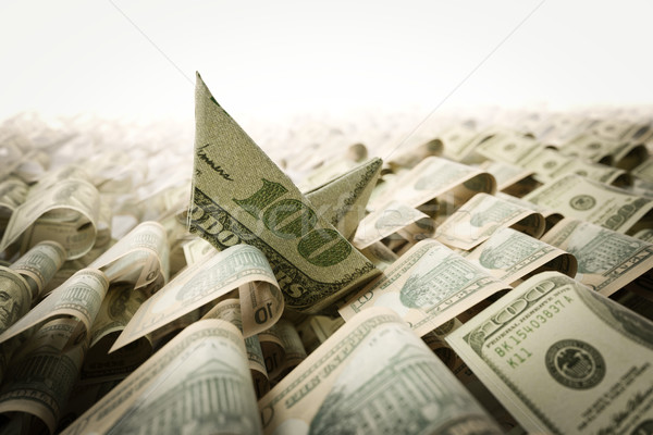 Shipwreck from dollar paper in the money sea concept composition photo Stock photo © denisgo