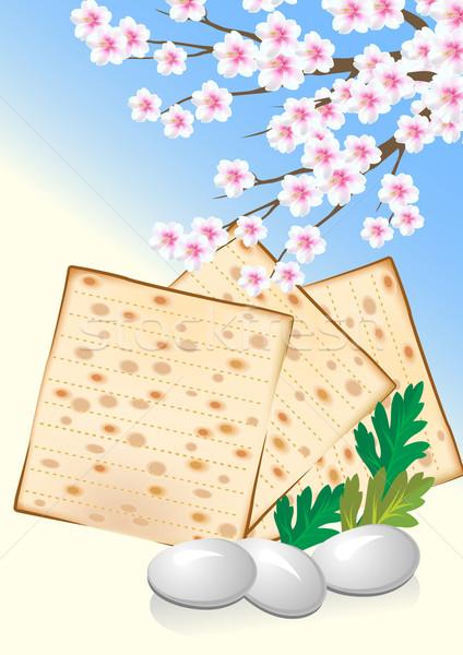 Célébrer Pâque oeufs fleurs fleur heureux Photo stock © denisgo