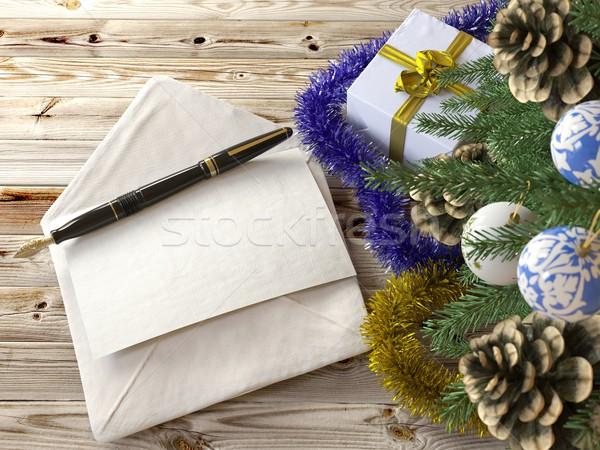Foto stock: árbol · de · navidad · carta · vacaciones · árbol · madera