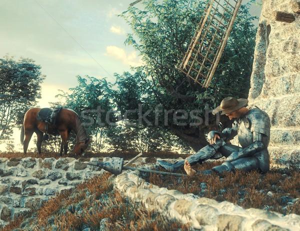 Foto stock: Molino · de · viento · ilustración · 3D · libro · naturaleza · ayudar