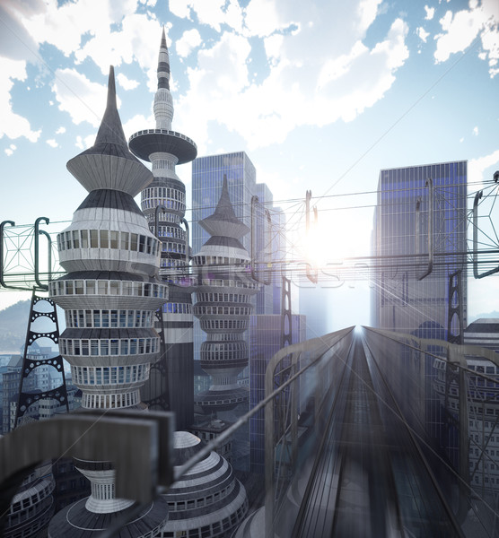 aerial view of Sci Fi City with clouds and sun 3d illustration Stock photo © denisgo