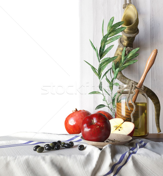 Honey jar with apples and pomegranate Rosh Hashana hebrew religious holiday Stock photo © denisgo