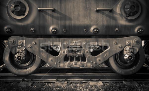 Endüstriyel ray tren tekerlekler teknoloji Stok fotoğraf © denisgo
