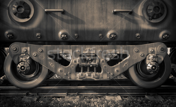 Industrial rail train wheels closeup technology black and white photo Stock photo © denisgo