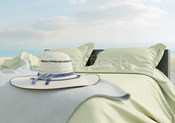 Beach lounge - bed with umbrella on Sea view for vacation and summer concept photo Stock photo © denisgo